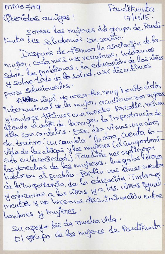 Carta de las mujeres de Pandikunta para Clínica Curull